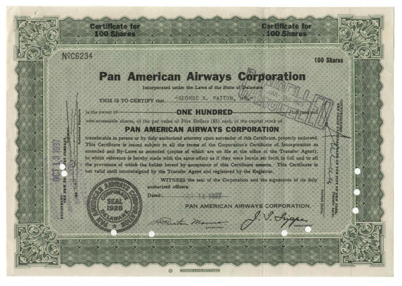 Pan American Airways Stock Issued to George Patton, Jr.