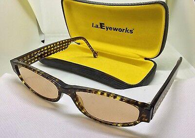 LA Eyeworks Rx Eyeglasses Cathead 349 53/12/135 Yellow Black Frames w/Case L.A for sale  El Monte