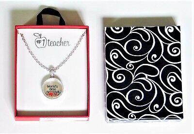 """#1 World's Best Teacher Silver Tone  Floating Pendant 18"""" Necklace  In Gift"""