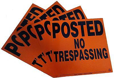 "x4 Posted No Trespassing Orange ALUMINUM PROPERTY SIGNS 11.25"" x 11.25"""