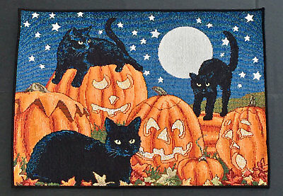 Halloween Fun ~ Pumpkins & Black Cats by Full Moon Sky Tapestry Placemats - Black Pumpkins Halloween