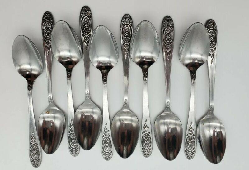 Vintage T&N Stainless Steel Japan Rose Flatware Dinner Spoon Set of 10