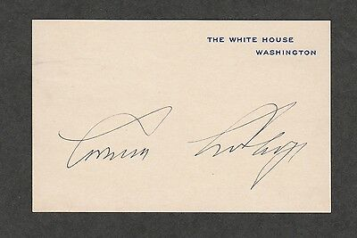 KS-1095 AUTOGRAPH CALVIN COOLIDGE SIGNED SUPERIOR WIS SUMMER WHITE HOUSE 1928