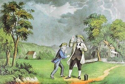 Currier & Ives VTG Art Full Color Plate Ben Franklin's Experiment Electricity