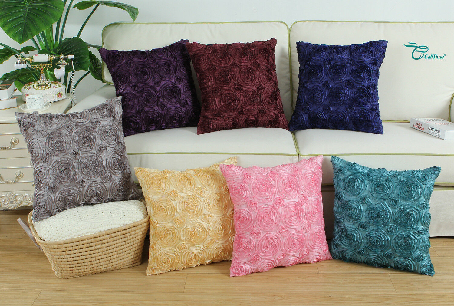 CaliTime Pillow Throw Cushion Cover Case Shell Solid Stereo
