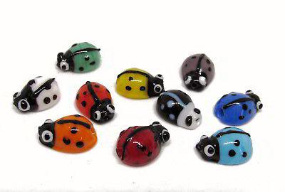Marienkäfer Glasperlen 10 Stück, bunt gemisch ca 1,1 cm, Schmuck, Perlen basteln