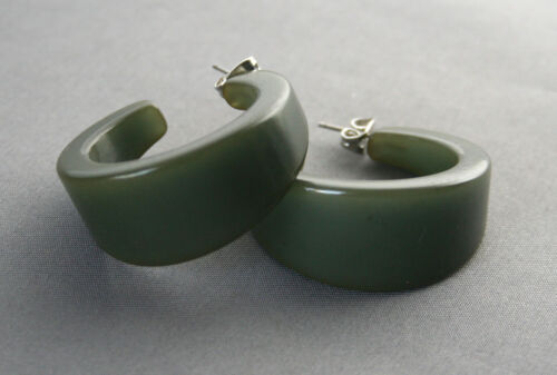 Pair Vintage Tapered Bakelite Pierced Earrings Olive Green Color