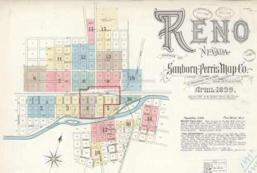 Reno, Nevada~Sanborn Map© sheets~18 maps made in 1899 on a CD in full color