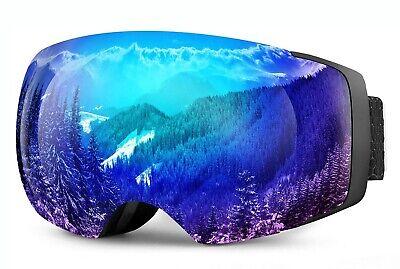 NEW $89 OTG Over The Glasses Black Ski Goggles With Magnetic Easy Swap Blue Lens