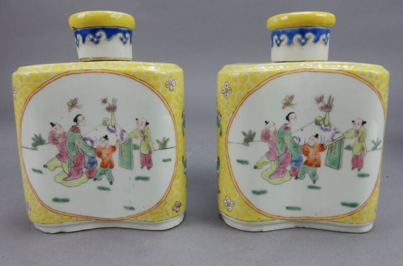 Pair Of Antique Chinese Famille Rose Tea Caddies 6 Inches