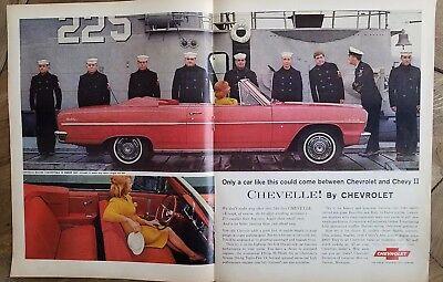 1964 red Chevrolet Malibu convertible car Navy Naval men 2 page ad ()