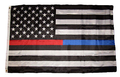 3X5 First Responder Usa Police Fire Department Blue Red Line Premium Flag 3X5