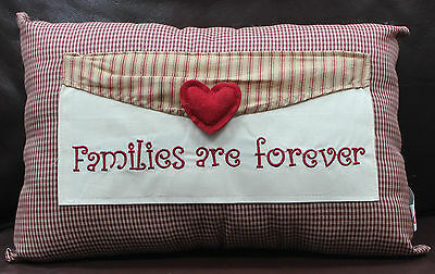 Decorative Embroidered Envelope Pillow Country Checker Family Forever Heart