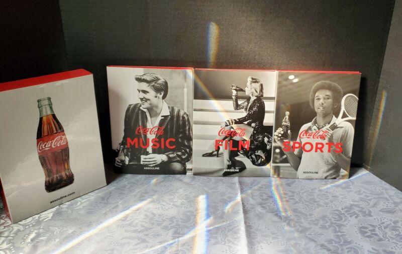 Coca Cola Assouline Book Set - 3 Hardcover Books - Sports, Film and Music