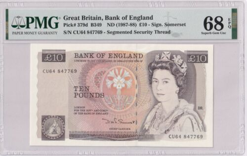 Great Britain P#379d B349 10 pounds banknote Sign.Somerset PMG 68 Superb Gem UNC