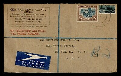 DR WHO 1946 SOUTH AFRICA DURBAN REGISTERED AIRMAIL TO USA  g17907