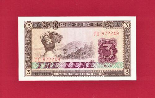 BEAUTIFUL ALBANIA UNCIRCULATED BANKNOTE: 3 TRE LEKE 1976 (P-41a) - PRINTER: CBPM