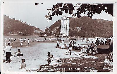 Brazil Brasil Sao Vicente - Beach old real photo postcard