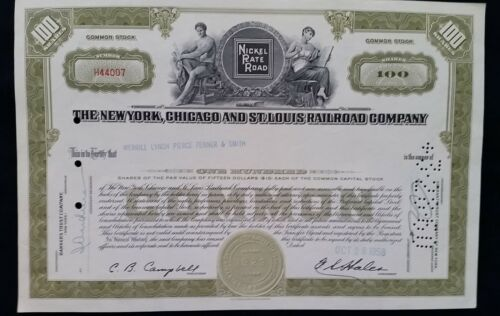 New York Chicago & St. Louis Railroad Co.100 Shares Stock Certificate!