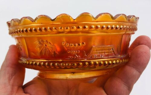 Northwood Carnival Glass - Marigold Bowl - Unknown Pattern, Flower, Dots, Fence