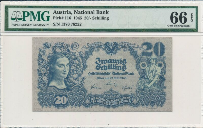 National Bank Austria  20 Schilling 1945  PMG  66EPQ