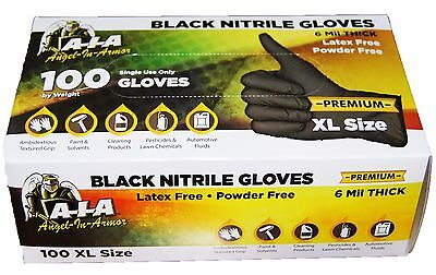 100 Large Xl Or 2xl Black Nitrile Gloves - Full Textured - Powder Free -6 Mil