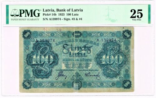 Latvia Bank of Latvia 100 Latu 1923 Pick 14b PMG Very Fine 25. Very Rare!
