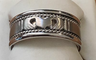 8.5mm 14K Solid White Gold Handmade Celtic Claddagh Wedding Band Ring Size 9