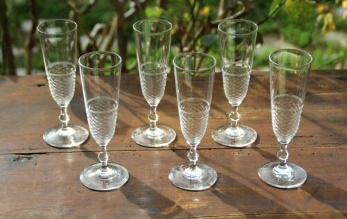 Antique  French Baccarat  Cut Crystal  set of 6 Champagne Flutes 19 Th C