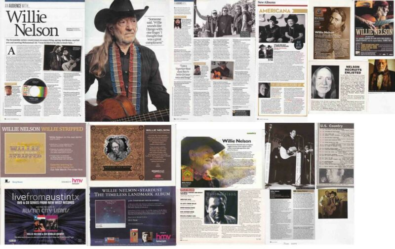 WILLIE NELSON : CUTTINGS COLLECTION - adverts interview