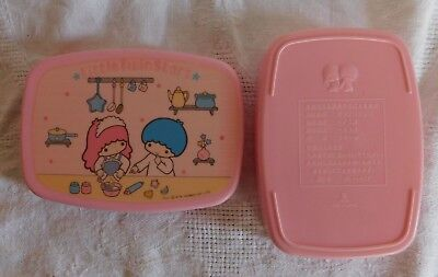 Vtg 1976 Sanrio Little Twin Star Pink Plastic Container Box Case PI-1417 Japan