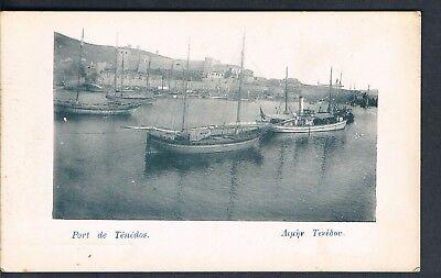 TURKISH POSTCARD PORT OF TENEDOS Bozcaada C1910 STEAMER AND FISHING VESSELS