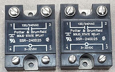 Lot Of 2 Potterbrumfield Solid State Relay Ssr-240d25 Input 3-32 Vdc 120240v