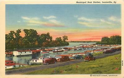 Kentucky, KY, Louisville, Municipal Boat Harbor 1940's Linen Postcard