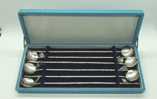 Vintage MCM 6 Sterling Japanese Straw/Stirrers Bamboo, Cherry Blossom & Charms