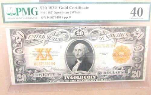1922 $20 Gold Certificate FR 1187 PMG 40 XF Speelman/White Q2GH