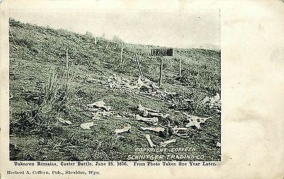 c1910 Postcard Custer Little Bighorn Battlefield Unknown Remains, Bones Unposted