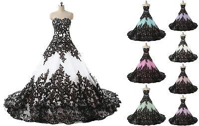 Vintage Gothic Halloween Wedding Dress Elegant Black Appliques Bridal Ball Gowns](Gothic Halloween Wedding Dresses)