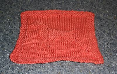 Brand New Hand Knit Doberman Pinscher Dog Orange Dish Cloth 4 Dog Rescue Charity