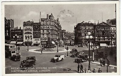 Piccadilly Cars - LONDON - Piccadilly Circus - Bus & Cars - #248 - 1949 used postcard