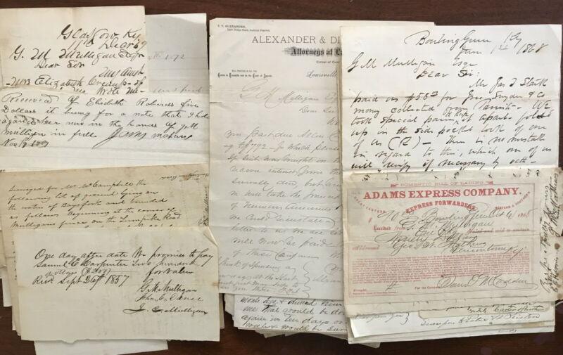 1800s Scottsville Kentucky - G M Mulligan Letters, Documents Lot (130)