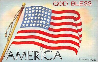 C6665 God Bless America, 48-Star American Flag - 1940 Teich Linen PC No. 0B-H209