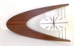 MID-CENTURY DANISH MODERN Boomerang Wall Clock Belart style large 30