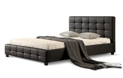 Brand New Quality PU Leather Bed Frame in Black or White
