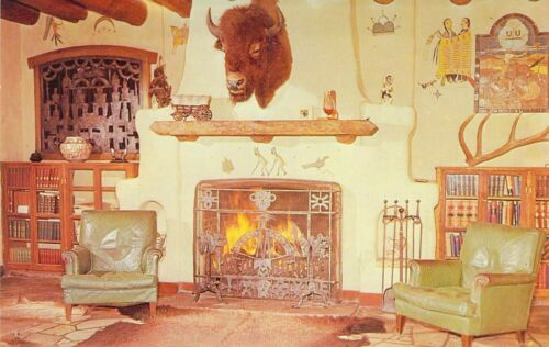 NM Cimarron Villa PHILMONTE SCOUT RANCH Trophy Room Fireplace postcard BS5