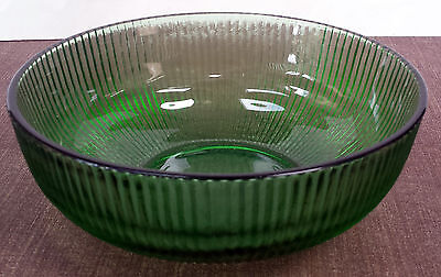 Vintage E.O.BRODY CO.Green Ribbed Glass Bowl Cleveland OH. U.S.A.