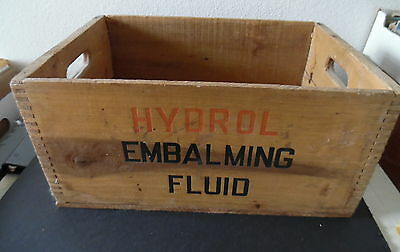 Antique Hydrol Embalming Fluid Dovetail Wood Shipping Crate Box