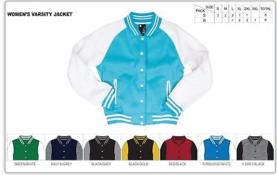 Fashion Women - Girl Plain Varsity Baseball Jacket College Casual Sports Tops