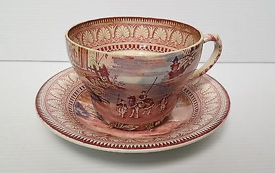 VERY RARE! MALING POTTERY Oversized Large Cup & Saucer Newcastle-on-Tyne ENGLAND