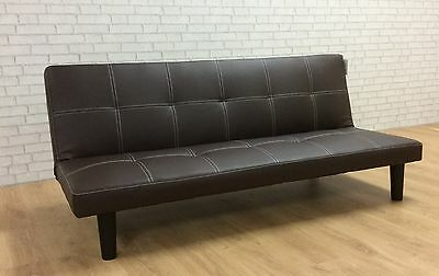 Single Faux Leather Sofa Bed in Dark Chocolate - Spencer Sofabed - Free Delivery